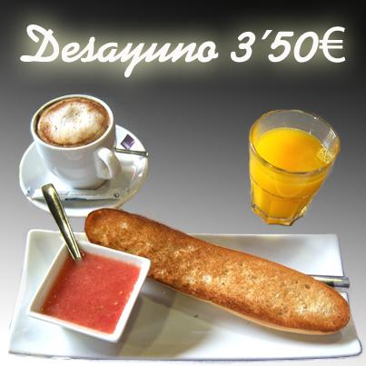 Desayuno tostada, café y zumo por 3,50€